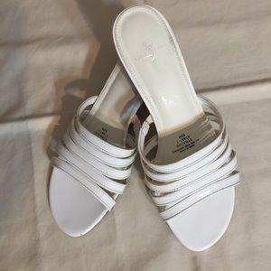 Size 8 1/2 white strappy sandals
